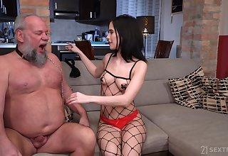 Perverted old man Albert enjoys gender young domme Nikki Fox