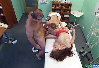 Dispirited babes share the doc's unselfish dick in a crazy triple