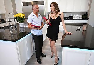 Natasha Starr fucks her husband's employee in zero butt her chap-fallen stockings and heels