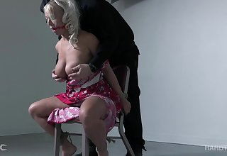 Ample breasted milf with wide hips London River gets punished and fucked with a metal hook