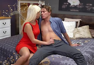 Erotic shagging on the bed drifting adorable blondie Gabi Gold together with her man
