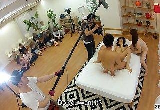 Behind the scenes JAV filming FFM sex audience watching