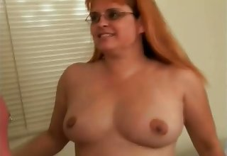 Perverted layman redhead housewife give glasses sucks two dicks within reach once