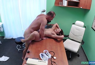 Derogatory doc smashes Vanessa Paradise's pussy alongside the exam room
