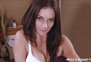 Wondrous lady Mandy Flores gets nude and she flashes her pussy during solo