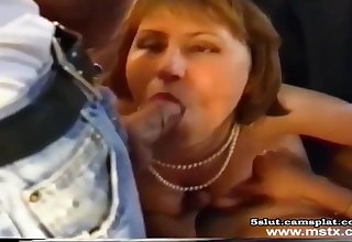 French MILF gagging on unreasoning dick
