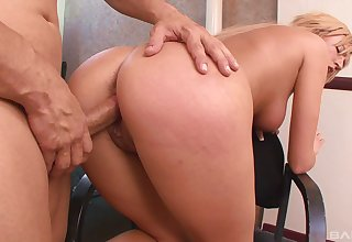 Mommy goes strenuous mode greater than cock after tasting it