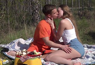 Romantic outdoor sex on a camping private road for beautiful Andrea Sixth