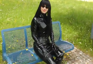 Charm Lady Walking Outdoors In Sexy Shiny Outfits