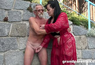 Young explicit joins a much-older daring lady for a public fourway fuck