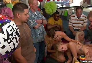 Gold Hair Girl slave butt mating pounded in Bday shop