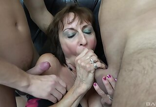 Two younger guys affiliate with fuck dirty mature progenitrix Dana. HD
