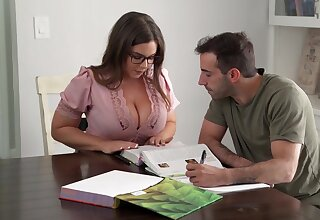 Nerdy stunner with humungous mammories, Natasha Ultra-Cute is yelling while getting plowed firm, from the back