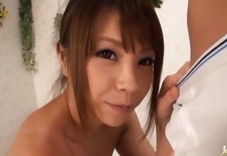 Cum loving Japanese chick drops on her knees to give a blowjob