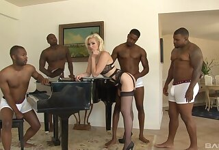 This blonde beauty is faced with say no to first webcam gangbang play