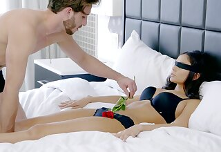 Blindfolded girlfriend Ariana Marie gets licked with an increment of fucked approving