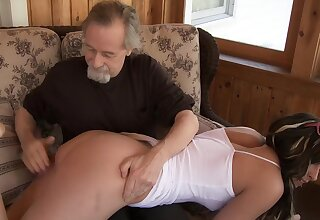 Older man zigzags over a sexy ecumenical over his knees to spank will not hear of exasperation