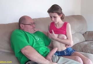 Extreme skinny big natural breast girlfriend gets rough and deep fucked by brute cock
