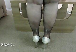 Sally's huge titties in their way white fleecy peak