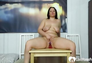 Solo Milf Rides A Huge Dildo At The brush Home