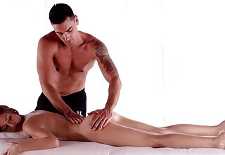 Deep seduction exposed to be passed on massage table wide handjob in be passed on end