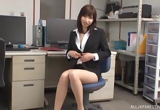 Naughty Asian sob sister loves riding a hard learn of in the office