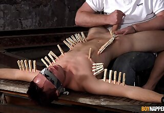 Clamped twink endures master's dirty fetishes until rub-down the end