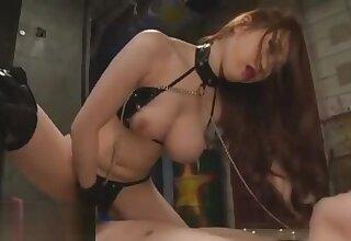 Busty Japanese in dark lie low rough lovemaking