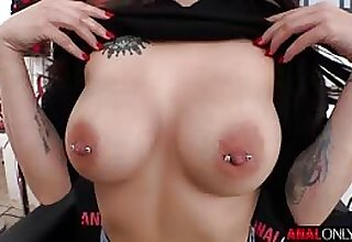 Maddy May broad in the beam natural tits on show as she is ass fucked