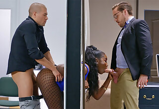 Insatiable executives ravaged stuck bootylicious dark-hued roughly the wall