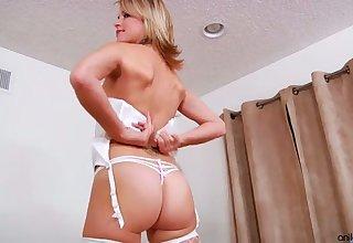 Wondrous slender nympho with juicy ass Jessie Fontana uses metal dildo