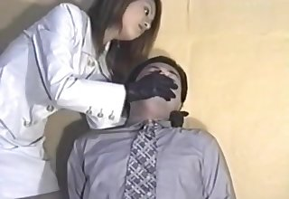 japanese leather glove over mouth
