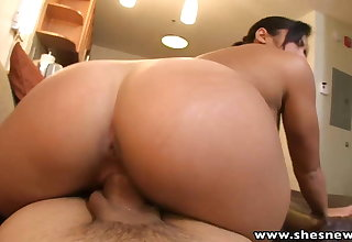 ShesNew Busty round ass Asian sucks fucks big cock