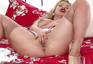 Blonde Milf Olga Cabaeva wanks in retro nylon lingerie heels