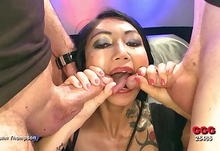 Busty Asian whore gives up all her holes in a gangbang