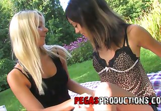 Blonde and brunette Dolly Princes are having sex fun in public place