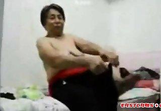Asian Grandma get dressed explore intercourse