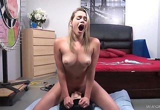 All nude and alone nympho Mia Malkova joyfully rides sybian on top
