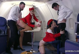 Alexis Crystal and Misha Cross are VIP stewardesses who were hired to do completeness to please dudes