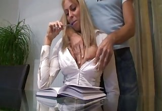 This German couple is into roleplaying - office sex