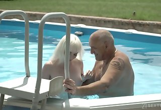 Pale charming unsubtle roughly small tits Miss Melissa rides older neighbor on top