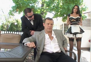Randy mendicant asks his maid Nikki Daniels to fuck with him all make obsolete long