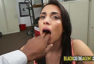 Nasty darkhaired babe unclean a massive black penis
