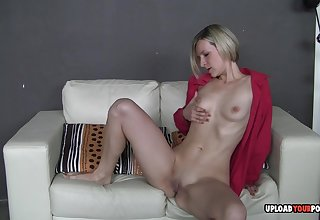 Horny Bianca unbuttons her red shirt to take cognizance of her tits before fingering herself.
