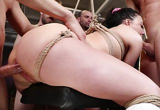 Double in detail gangbang with a huge number of guys coupled with Whitney Wright