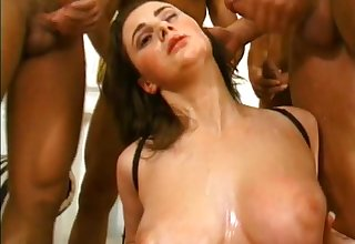 Nasty brunette porn chick gets banged in hot gangbang