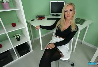 Aurous office chick Naomi gets naked with the addition of shows off yummy snatch