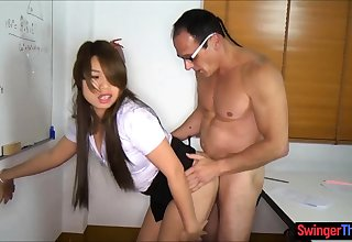 Asian schoolgirl fucked in class in front be incumbent on a ladyboy