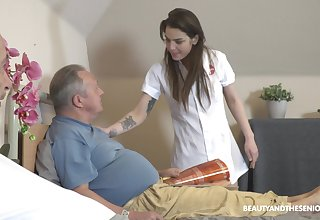 Venerable vs Young porn thither irresistible nurse Nana Garnet plus two guys