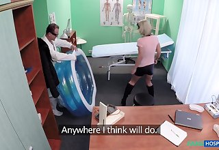 Blonde slut Luci Promoter with natural tits fucked by their way doctor